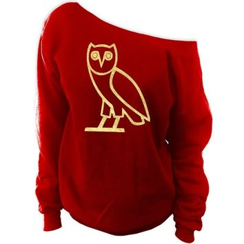 oVo Owl October's Very Owl Off-The-Shoulder Oversized Slouchy Sweatshirt
