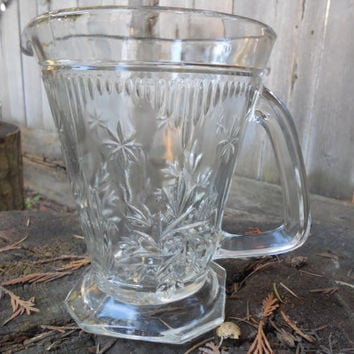 Art Deco English 1930's Pressed Cut Glass Water Pitcher
