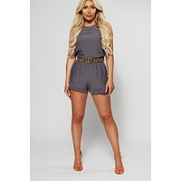 Tie Together Romper (Charcoal)