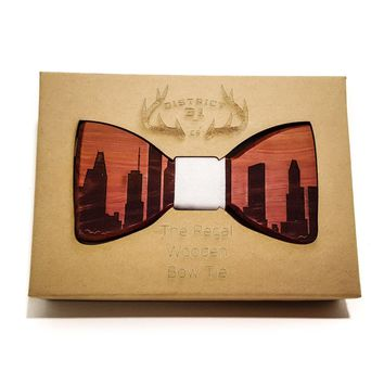 The Regal Wooden Bow Tie - Indianapolis Skyline