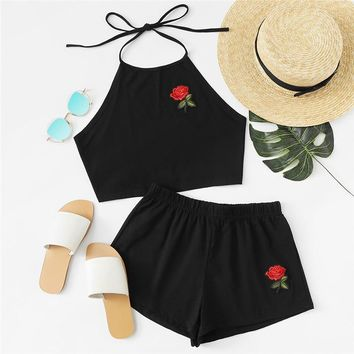 Summer Ladies Two Way Sleeveless Rose Embroidered Tie Back Halter Top And Shorts