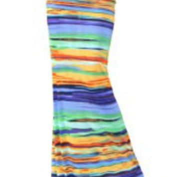 Multi Color Printed Maxi Skirt