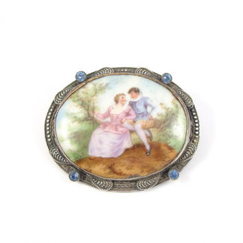 Hand Painted Brooch, Jeweled  Frame, Antique Jewelry, Czech Brooch, Hand Painted Pin, Porcelain Brooch, Vintage Jewelry, Estate Jewelry