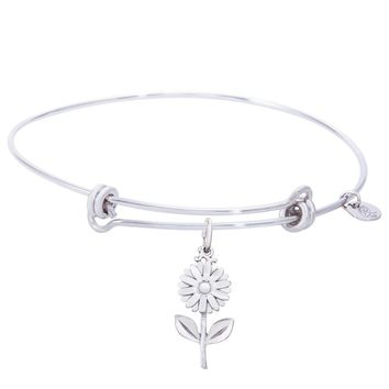 Sterling Silver Balanced Bangle Bracelet With Daisy Charm