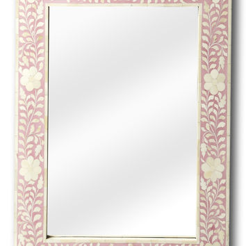 Wall Mirror Pink Bone Inlay | Handmade Moroccan Mirror Boho Chic Decor | Free Shipping
