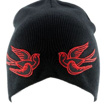 ac spbest Red Swallow Sparrow Birds Beanie Alternative Clothing Knit Cap Rockabilly Tattoo Ink
