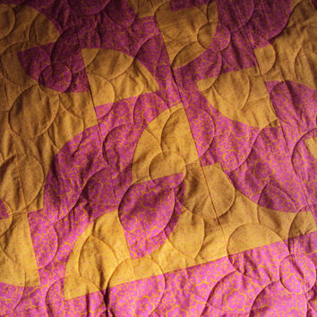 Throw Quilt -  Pink and Yellow Quilt  - Dorm Quilt