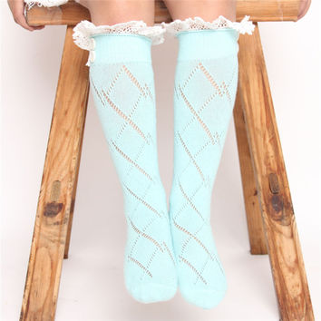 New! Baby Children Girls Crochet Knitted Button Toppers Lace Leg Warmers Kids Girls Plaid Long Leg Warmer Socks Cotton JT015