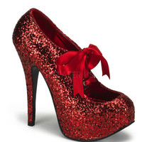 Bordello Red Glitter Stiletto Platforms