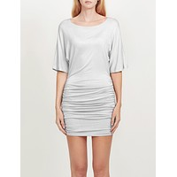 Stretchy Batwing Sleeve Scoop Neck Ruched Bodycon Night Cocktail Dress (CLEARANCE) (CLEARANCE)