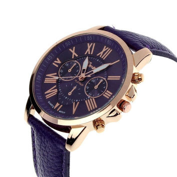 New Women's Fashion Geneva Roman Numerals Faux Leather Analog Quartz Wrist Watch = 1956477764