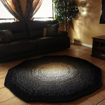 Black And White Ombre Gradient Crochet Round Rug, Geometric Rug, Faded Rug,  Large