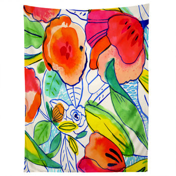 CayenaBlanca Ink Flowers Tapestry