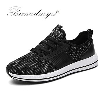 Spring Summer Air Mesh Men Casual Shoes Lace Up Flat Sneakers Shoes Breathable Soft Male Footwear