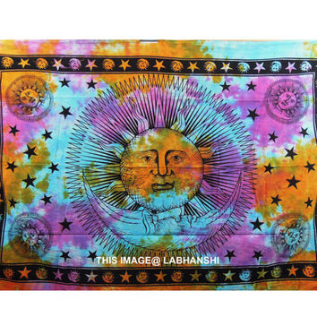 Hippie Hippy  Sun Wall Hanging , Indian Tie dye Moon Tapestry Throw Bedspread , Dorm Tapestry , Decorative Wall Hanging , Picnic Beach Sheet