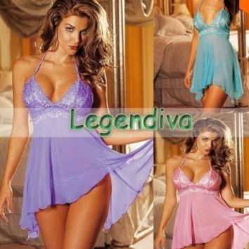 women New Holiday Sale Hot satin Sexy Lingerie Lady's  pajama lace skirt Sleepwear = 1929486916