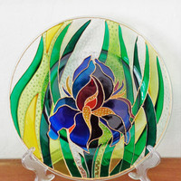 Iris art Glass painting Decorative plate Flower decor