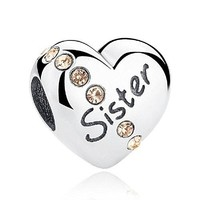 Crystal Family Heart Charm 925 Sterling Silver Bead Fits Pandora Charms Jewelry
