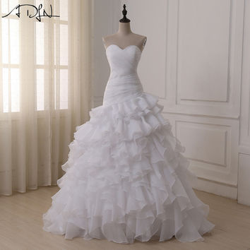 ADLN High Quality Corset Wedding Dresses vestidos de novia A-line Sweetheart Organza Plus Size Bridal Gown