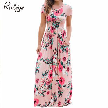 Summer Women Floral Print Short Sleeve Empire Waist Boho Dresses Femme Vestidos Ladies Evening Party Long Beach Maxi Dress