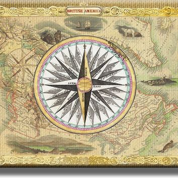 Vintage Map and Compass Picture on Acrylic , Wall Art Décor, Ready to Hang