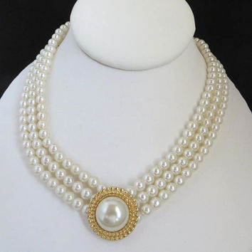 Faux Pearl Triple Strand Necklace, Vintage Bridal Jewelry, Gift for Her, FREE SHIPPING