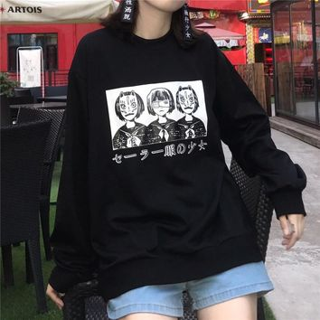 Korean Harajuku Lovely Anime Cartoon Hoodies Japanese Oversized Loose All-match Long Sleeve Female Street Fashion Sweatershirt