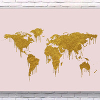 World Map Gold Art Print Instant Download Printable Rose Edition