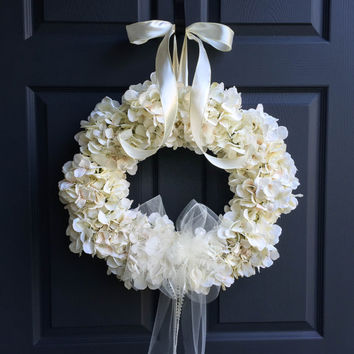 The Wedding Veil Wreath | Wedding Decorations | Bridal Veil Wreath | Hydrangea Wreath | Wedding Wreath | Bridal Shower Decor | Veil Wreaths