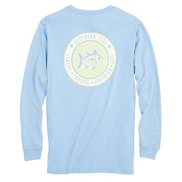 Seersucker Skipjack Long Sleeve T-Shirt in Sky Blue by Southern Tide