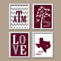 Texas A&M College Custom Family Monogram Initial State LOVE Bird Tree Wedding Date Print Artwork Set of 4 Prints Wall Decor Art Wedding