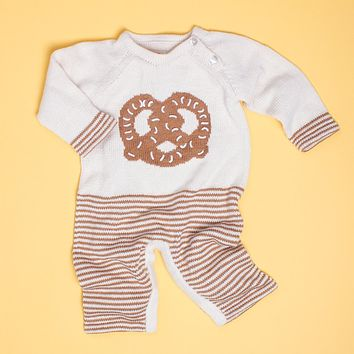 Organic Cotton Baby Romper - Long Sleeve and Leg Onesuit - Pretzel Graphic