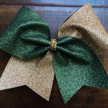 Cheer Bow - Forest Green and Gold