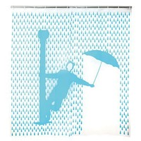 Kikkerland Singin' In The Rain Shower Curtain, 72 by 72-Inch