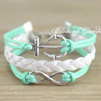 bracelet, mint bracelet,infinity bracelet,anchor bracelet, infinity love, anchor,aqua bracelet, bridesmaid bracelet, girlfriend gift