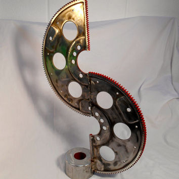 Valentines Day Sculpture, Steampunk Gear Sculpture, Racing Gift, Boyfriend gift, Unique dad Valentine, Red Love Gift, Symbol Love Valentine