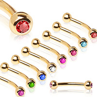 Gold Plated Over 316L Surgical Steel Eyebrow Ring with Glass/Gemmed Ball