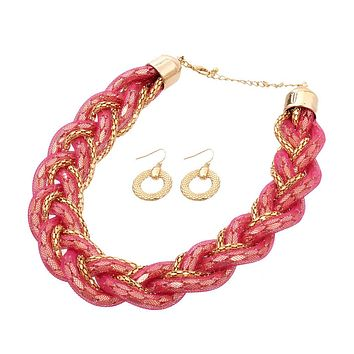 Fish Net Twisted Necklace Set