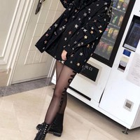 """Givenchy"" Women Fashion Five-pointed Star Sequin Embroidery Long Sleeve Cardigan Coat"
