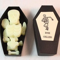 "Skeleton Bone Candle Tarts Scented in ""Bone Chiller"", Halloween Candle Melts Decorations"