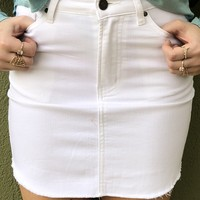 XO Denim Skirt - White