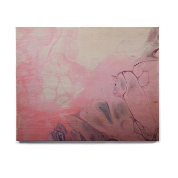 "Carol Schiff ""Pink Fluff"" Pink Gray Abstract Contemporary Painting Mixed Media Birchwood Wall Art"