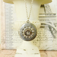 Birthstone Necklace, Birthstone Gift, Silver Locket, Bullet Jewelry, Outlaw