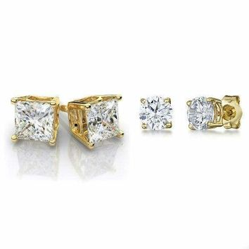 Gold Stainless Steel Stud Earrings Cubic Zirconia Men Women 2PC Earrings Set