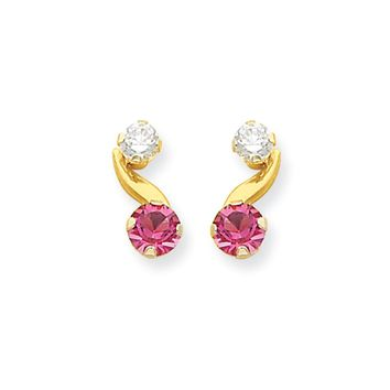 Kids Synthetic Pink Tourmaline and CZ 14k Yellow Gold Drop Earrings