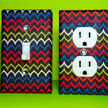 Setof 2 Chocolate Brown Zig Zag Outlet Cover by ELECTRIKKRAYON