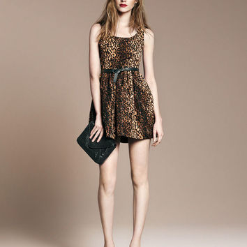 Leopard Print Sleeveless Belted A-line Mini Dress