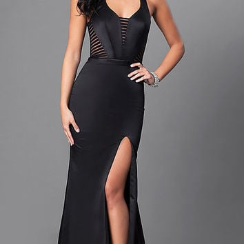 Long Satin Formal Dress with Illusion Cut Outs