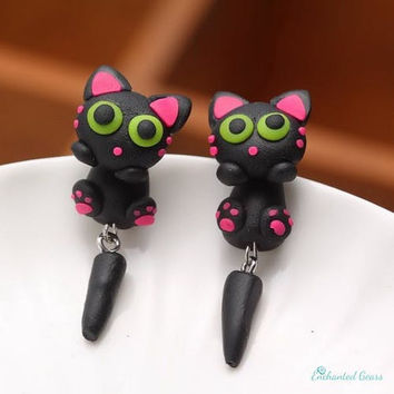 Cute  Black Long tail kitten Stud Earrings-Handmade