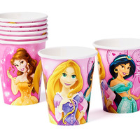 Disney Princess Sparkle Paper Cups Hot and Cold Beverage Drink Birthday Party Disposable Tableware (8 Pack), Pink, 9 oz.